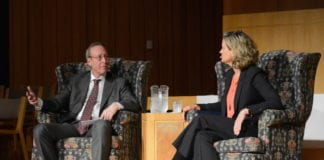 Blank Slate Media publisher Steve Blank interviewed Nassau County Executive Laura Curran about issues affecting the county in Manhasset on Thursday. (Photo by Janelle Clausen)