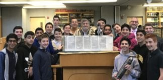 Several students from North Shore Hebrew Academy have gained the skill needed to recite the Book of Esther at Great Neck Synagogue from Paul Brody. (Photo courtesy of Paul Brody)