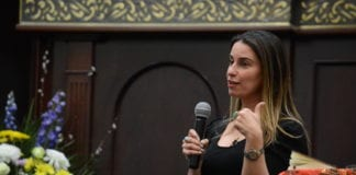 Saba Soomekh offered insights on the past, present and future of the Persian Jewish community on Monday night. (Photo by Janelle Clausen)