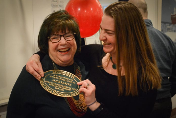 Alice Kasten and her daughter Meredith Zolty joke about how Kasten, who received a plaque normally given only to historical landmarks or buildings, is now a