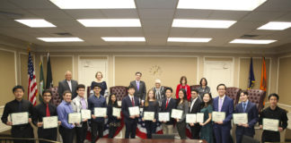 Supervisor Judi Bosworth and The Town Board with the North Hempstead Regeneron Science Talent Search finalist and semi-finalists. (Photo courtesy of the Town of North Hempstead)