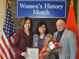 Betty Leong was honored for her contributions by Nassau County on Monday. (Photo courtesy of Legislator Ellen Birnbaum's office)