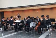"North High School Chamber Symphony Orchestra musicians performed at the Telles Center as a ""warm up act"" for the Czech National Orchestra. (Photo courtesy of Great Neck Public Schools)"