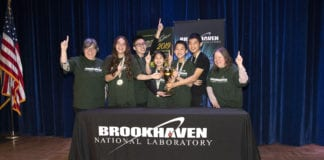 The winning team from South Middle School holds their Regional Science Bowl trophy. (Photo credit: Brookhaven National Laboratory)