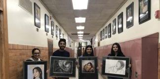 Sewanhaka High School art students Kiana Cano, Justin Kanjirakattu, Alina Adan and Meghan Geyer had their artwork displayed at the Art League of Long Island's 11th annual Go APE artist reception. (Photo courtesy of the Sewanhaka Central High School District)