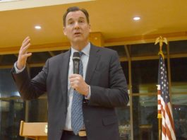 Rep. Tom Suozzi attended a town hall at Temple Beth-El in Great Neck on Monday night, discussing a wide range of issues. (Photo by Karen Rubin/news-photos-features.com)