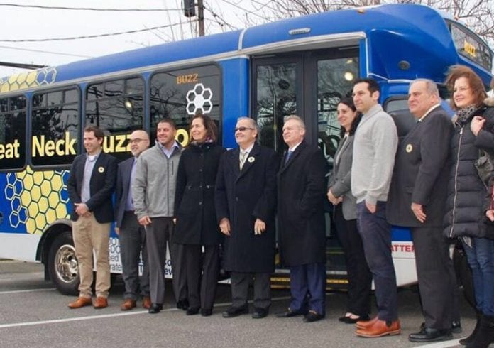 When the Great Neck Buzz shuttle service debuted in January, local officials praised the initiative. (Photo courtesy of Great Neck Buzz)