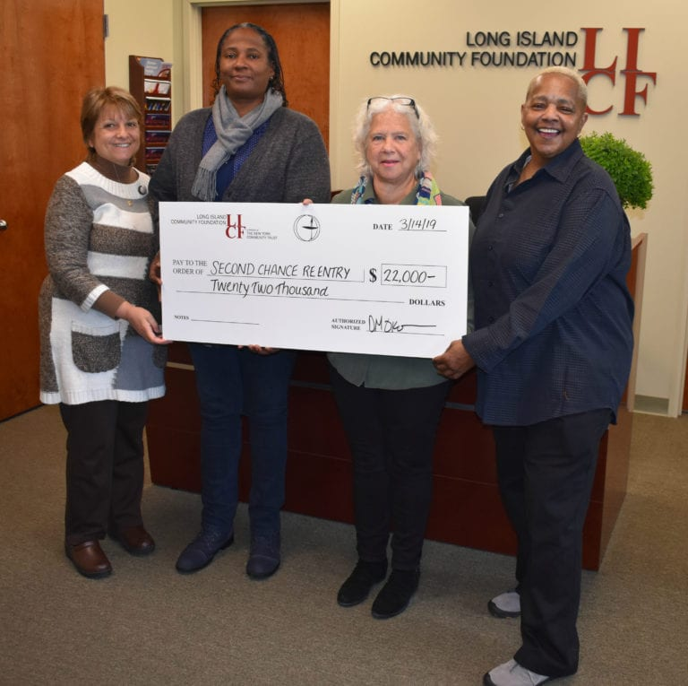 LIUUF at LICF presents $22,000 grant to Second Chance Reentry helping formerly incarcerated individuals