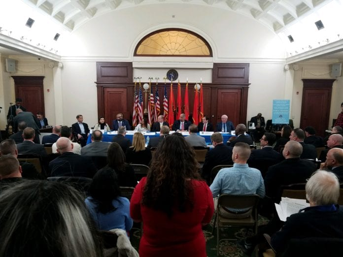 Officials, press and members of the public crowded a room in the Theodore Roosevelt Executive and Legislative Building in Mineola for a State Senate hearing on the LIRR last Friday. (Photo by Janelle Clausen)