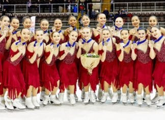 The Skyliners, Team USA 1 in synchronized skating and 2019 champions in synchronized skating, took home their second consecutive world medal last month. Tracy Wang and Amie Adjakple are in the top row and center and Alyssa Politoski is on the bottom row, first from the right. (Photo courtesy of Gigi Politoski)