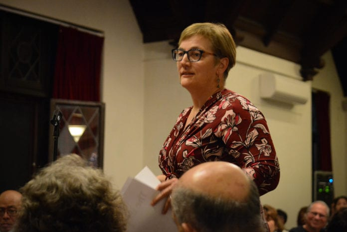 Sabine Margolis, a Thomaston resident, was one of several residents who attended and spoke at a town hall about revitalization for Middle Neck Road on Monday night. (Photo by Janelle Clausen)