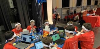 The Mineola Middle School team of sixth and seventh graders worked hard to code and conquer during the recent middle school Hackathon. (Photo courtesy of Mineola Union Free School District.)