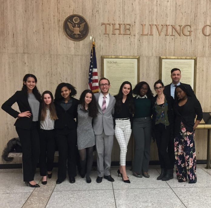 Floral Park Memorial High School's Mock Trial team after their win at the Nassau County Mock Trial Competition. (Photo courtesy of the Sewanhaka Central High School District)