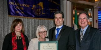 (Left to Right): Council Member Lee Seeman, Supervisor Judi Bosworth, Mark A. Ventimiglia and Receiver of Taxes Charles Berman at the Cellini Lodge #2206's 51st Anniversary Dinner Dance. (Photo Courtesy of town of North Hempstead)