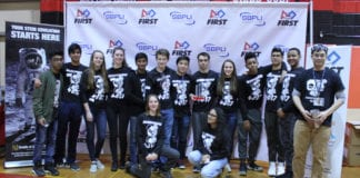 Members of Sewanhaka Central High School District's Robotics Club are pictured with adviser Jack Chen.