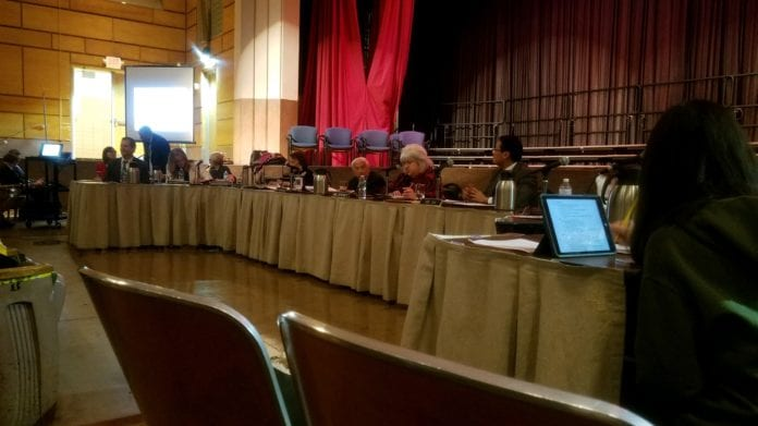 The Great Neck Board of Education adopted a $234.4 million budget on Tuesday night, while facing criticism for facility fee hikes from CYO basketball program users. (Photo by Janelle Clausen)