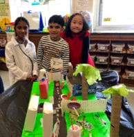 Hillside Grade School students Alina Aphraim, Agastya Arora and Mandy Chen are pictured with their project. (Photo courtesy of New Hyde Park-Garden City Park School District)