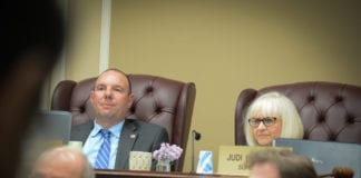 Councilman Peter Zuckerman and Town Supervisor Judi Bosworth suggested the applicant meet with neighbors to resolve their differences. (Photo by Janelle Clausen)