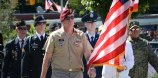 Veterans marched down Middle Neck Road as part of Great Neck's 95th Annual Memorial Day Parade. (Photo by Janelle Clausen)
