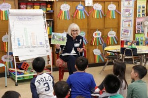 North Hempstead Town Supervisor Judi Bosworth speaks with Ms. Smith's second-grade class about town government programs and operations as part of the Lakeville School's annual Teach-In event. (Photo courtesy of Great Neck Public Schools)