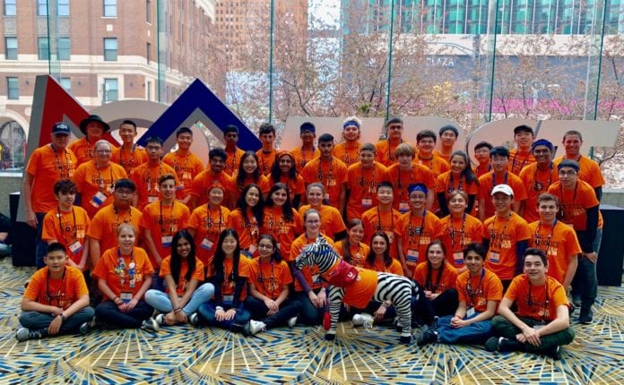 The South High School Rebel Robotics Team wrapped up its competition season at the FIRST World Championship in Detroit from April 24–27. (Photo courtesy of Great Neck Public Schools)