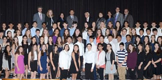 The Great Neck Board of Education recognized more than South Middle School students. (Photo by Irwin Mendlinger)
