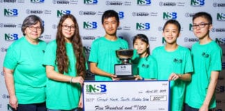 South Middle School's Science Bowl team members Samantha Zeltser, Richard Zhuang, Erin Wong, Tristan Wan, and Eric Pei are joined by coach Doris Stanick after winning the Cyber Challenge at the 2019 National Science Bowl. (Photo credit: National Science Bowl)