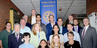 SM-Rotary-19 South Middle students were recognized by Rotary Club of Great Neck. (Photo by Irwin Mendlinger)