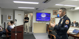 """Sgt. Robert Connolly, the commanding officer of the Nassau County Police Department's Homeland Security Unit, underscored the importance of preparation and """"situational awareness."""" (Video still from Village of Great Neck)"""