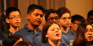 Herricks students sing at the Oyster Bay Three Choirs Festival. (Photo courtesy of Herricks Public Schools)