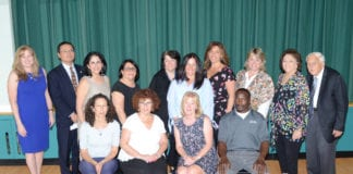 The school board and administrators recognized 25-year employees of the Great Neck Public Schools. (Photo by Irwin Mendlinger)