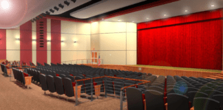 A 2017 rendering of the interior of a new auditorium for E.M. Baker Elementary School pitched in 2017 as part of a $68.3 million bond referendum. (Photo courtesy of Great Neck Public Schools)