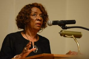 Julia Shields, a community activist, speaks at a forum on May 28. (Photo by Janelle Clausen)