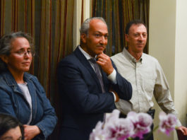 Annie Mendelson, Pedram Bral and Steven Hope appeared at a forum at Shiraz one week before the election. (Photo by Janelle Clausen)