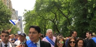 UN Ambassador from Israel, Danny Danon, marches in Celebrate Israel Parade with other UN Ambassadors and Great Neck Estates residents Lia and Dana Brody, Esq. in center, with sunglasses. (Photo courtesy of Dr. Paul Brody)