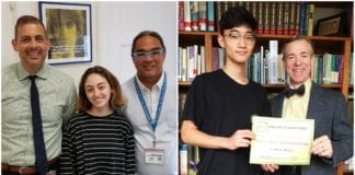 Chloe Heiden, pictured with North High Principal Daniel Holtzman and English teacher Edward Baluyut, and Andrew Sheen, pictured with South High English Department head David Manuel, were recognized for their writing. (Photos courtesy of Great Neck Public Schools)