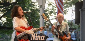 Nina Et Cetera, one of several groups to play during Great Neck Plaza's annual summer concert series last year, performs at Firefighters Park on Grace Avenue. (Photo by Janelle Clausen)