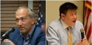 Great Neck Village Mayor Pedram Bral, seen here at a previous meeting, and James Wu, seen at a meet the candidates night last month, appear slated to be at two different events. (Photos by Janelle Clausen)