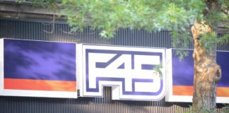 """F45 – or """"Function 45"""" – Fitness is almost ready to open its Great Neck Plaza location. (Photo by Janelle Clausen)"""