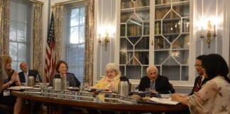 The Great Neck Board of Education took on appointments, retirements, bylaw changes, and the establishment of a memorial fund at its July 1 organizational meeting. (Photo by Janelle Clausen)