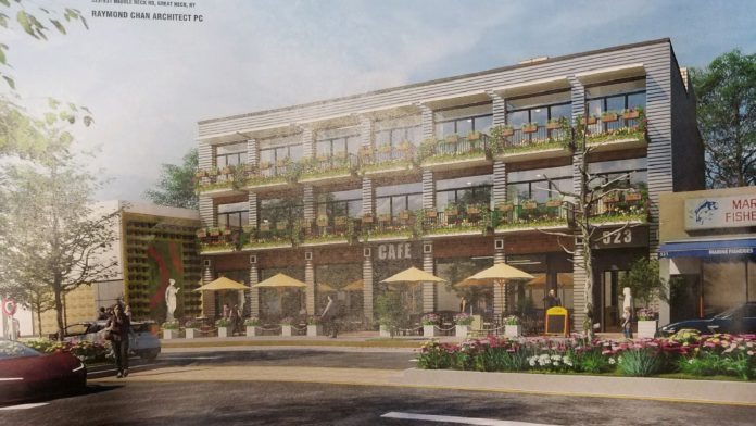 Silver Lake Realty Group is proposing the creation of a mixed-use building for 523-531 Middle Neck Road, the former home of Middle Neck Pharmacy and soon-to-be former home of HSBC. (Rendering by Raymond Chan Architects)
