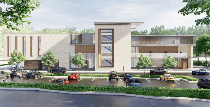 Representatives for the United Mashadi Jewish Community of America revealed a new rendering of its proposed recreational center on Tuesday night. (Rendering by Mojo Stumer)