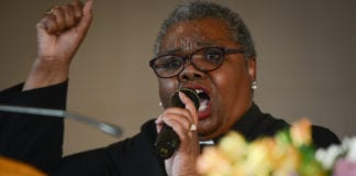 Rev. Natalie Wimberly of Clinton Memorial A.M.E. Zion Church delivered a powerful sermon on Sunday, calling on congregants to remain 'maladjusted' in the face of continued injustice in honor of Martin Luther King Jr. (Photo by Janelle Clausen)