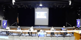 The Herricks Board of Education and school administrators discussed the district's reopening plans on Monday night. (Screenshot from YouTube)