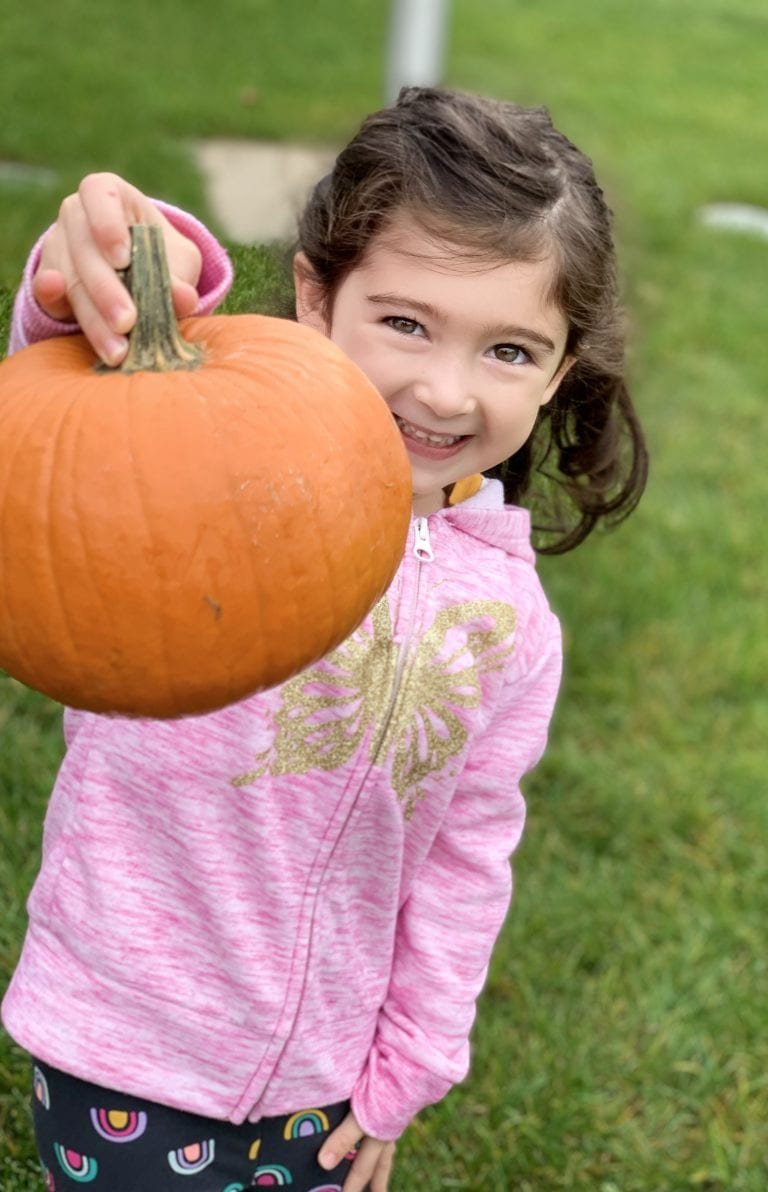 The pumpkins come to school at Temple Beth Sholom