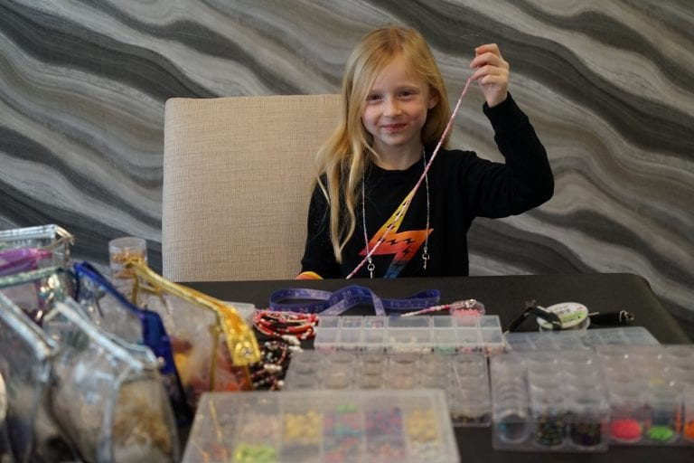 Roslyn 7-year-old raises $7,500 for Sid Jacobson JCC's  Community Needs Bank by making mask chains