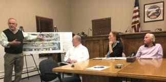 Project lead Gil Anderson, left, presents the plans for Manorhaven Boulevard, as Nassau County Public Works Commissioner Ken Arnold, Nassau County Legislator Delia DeRiggi-Whitton and Manorhaven Mayor Jim Avena look on at a 2019 meeting regarding the plans. (Photo by Rose Weldon)
