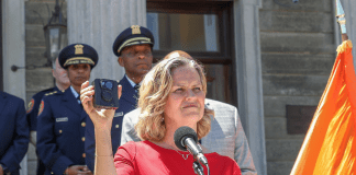 Nassau County Executive Laura Curran announced the purchase of body cameras for the county's police department on Thursday. (Photo courtesy of the county executive's office)