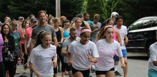 Runners kick off the Katie Oppo Memorial 5K in Flower Hill in 2019. After going online due to the COVID-19 pandemic last year, the run is scheduled to return this weekend. (Photo courtesy of the Katie Oppo Research Fund)
