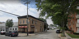 """Police said they found Gerzon Hernandez """"acting irate"""" at the corner of Grant Avenue and Mineola Boulevard in Mineola. (Image from Google Maps)"""